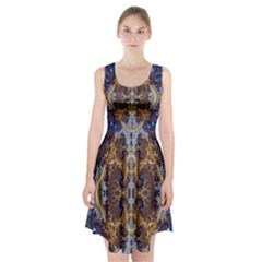 Baroque Fractal Pattern Racerback Midi Dress