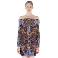 Baroque Fractal Pattern Long Sleeve Off Shoulder Dress