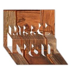 Barnwood Unfinished Miss You 3D Greeting Card (7x5)