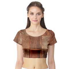 Barnwood Unfinished Short Sleeve Crop Top (Tight Fit)