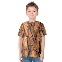 Bark Texture Wood Large Rough Red Wood Kids  Cotton Tee