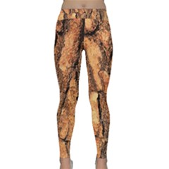 Bark Texture Wood Large Rough Red Wood Yoga Leggings