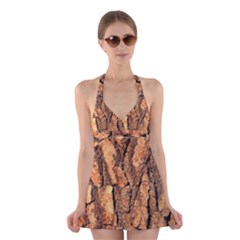 Bark Texture Wood Large Rough Red Wood Halter Swimsuit Dress