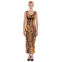 Bark Texture Wood Large Rough Red Wood Fitted Maxi Dress