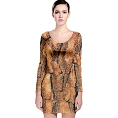 Bark Texture Wood Large Rough Red Wood Long Sleeve Velvet Bodycon Dress