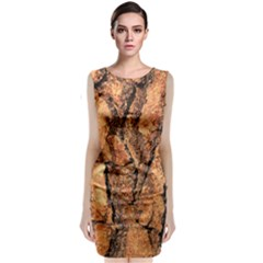 Bark Texture Wood Large Rough Red Wood Classic Sleeveless Midi Dress