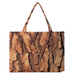 Bark Texture Wood Large Rough Red Wood Medium Zipper Tote Bag