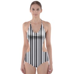 Barcode Pattern Cut-Out One Piece Swimsuit