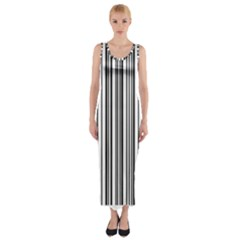 Barcode Pattern Fitted Maxi Dress