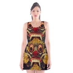 Bali Mask Scoop Neck Skater Dress