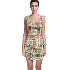 Backdrop Style With Texture And Typography Fashion Style Sleeveless Bodycon Dress