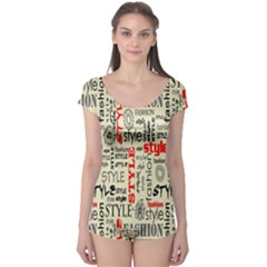 Backdrop Style With Texture And Typography Fashion Style Boyleg Leotard