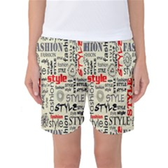 Backdrop Style With Texture And Typography Fashion Style Women s Basketball Shorts