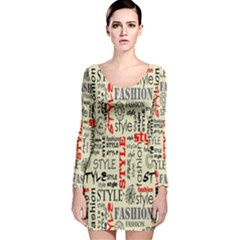 Backdrop Style With Texture And Typography Fashion Style Long Sleeve Velvet Bodycon Dress