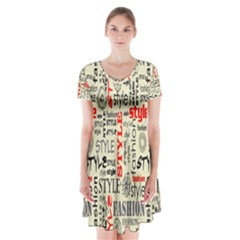 Backdrop Style With Texture And Typography Fashion Style Short Sleeve V-neck Flare Dress