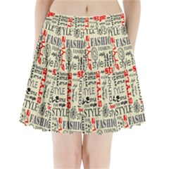Backdrop Style With Texture And Typography Fashion Style Pleated Mini Skirt