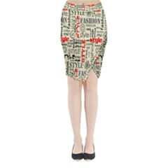 Backdrop Style With Texture And Typography Fashion Style Midi Wrap Pencil Skirt
