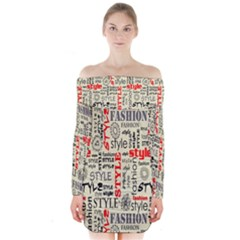 Backdrop Style With Texture And Typography Fashion Style Long Sleeve Off Shoulder Dress