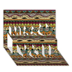 Aztec Pattern Ethnic Miss You 3D Greeting Card (7x5)