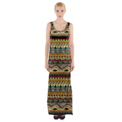Aztec Pattern Ethnic Maxi Thigh Split Dress