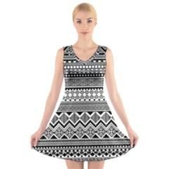 Aztec Pattern Design V-Neck Sleeveless Skater Dress