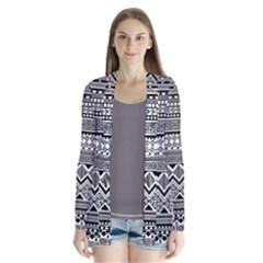 Aztec Pattern Design Drape Collar Cardigan