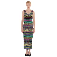Aztec Pattern Cool Colors Fitted Maxi Dress