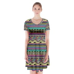 Aztec Pattern Cool Colors Short Sleeve V-neck Flare Dress