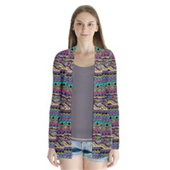 Aztec Pattern Cool Colors Drape Collar Cardigan