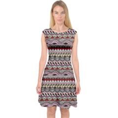 Aztec Pattern Art Capsleeve Midi Dress