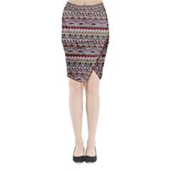 Aztec Pattern Art Midi Wrap Pencil Skirt