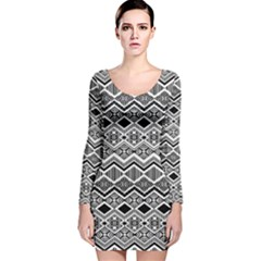 Aztec Design  Pattern Long Sleeve Velvet Bodycon Dress