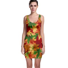 Autumn Leaves Sleeveless Bodycon Dress