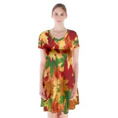 Autumn Leaves Short Sleeve V-neck Flare Dress