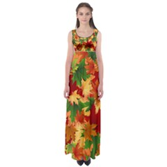 Autumn Leaves Empire Waist Maxi Dress