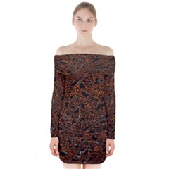 Art Traditional Indonesian Batik Pattern Long Sleeve Off Shoulder Dress