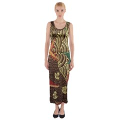 Art Traditional Flower Batik Pattern Fitted Maxi Dress