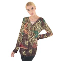 Art Traditional Flower Batik Pattern Women s Tie Up Tee