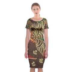 Art Traditional Flower Batik Pattern Classic Short Sleeve Midi Dress