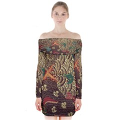 Art Traditional Flower Batik Pattern Long Sleeve Off Shoulder Dress