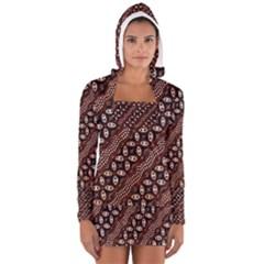 Art Traditional Batik Pattern Women s Long Sleeve Hooded T-shirt