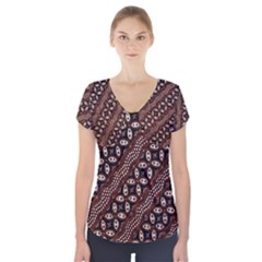 Art Traditional Batik Pattern Short Sleeve Front Detail Top