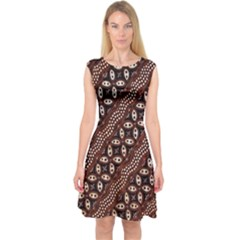Art Traditional Batik Pattern Capsleeve Midi Dress