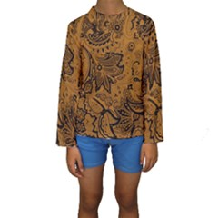 Art Traditional Batik Flower Pattern Kids  Long Sleeve Swimwear