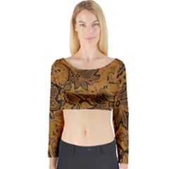 Art Traditional Batik Flower Pattern Long Sleeve Crop Top