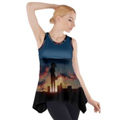 Art Sunset Anime Afternoon Side Drop Tank Tunic