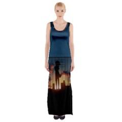 Art Sunset Anime Afternoon Maxi Thigh Split Dress