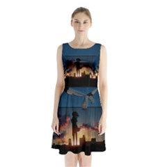 Art Sunset Anime Afternoon Sleeveless Chiffon Waist Tie Dress