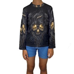 Art Fiction Black Skeletons Skull Smoke Kids  Long Sleeve Swimwear
