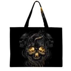 Art Fiction Black Skeletons Skull Smoke Large Tote Bag